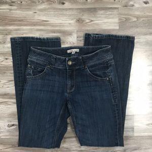 CAbi dark denim flare leg jean size 4